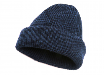 Bonnet en laine tricotée / bleu marine
