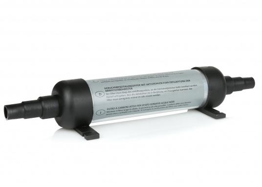 Eliminez les odeurs ! Peu encombrant et facile à installer directement sur la ventilation du réservoir à eaux noires. Pour raccords 16 / 19 mm. Longueur du filtre : 240 mm. (Image 1 de 1)