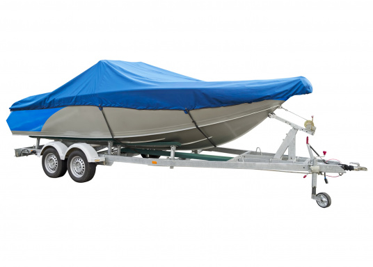 Housse imprégnée et renforcée aux points d'effort pour garantir la bonne protection de votre bateau à moteur. Le galon garni d'un cordage élastique et des oeillets assure une parfaite fixation.   (Image 1 de 8)