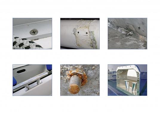 La graisse anti-corrosion Tikal Tef-Gel® stoppe la corrosion galvanique entre les métaux comme par exemple l'inox et l'aluminium. Lubrifiant durable, résistant à l'eau de mer.  (Image 5 de 5)