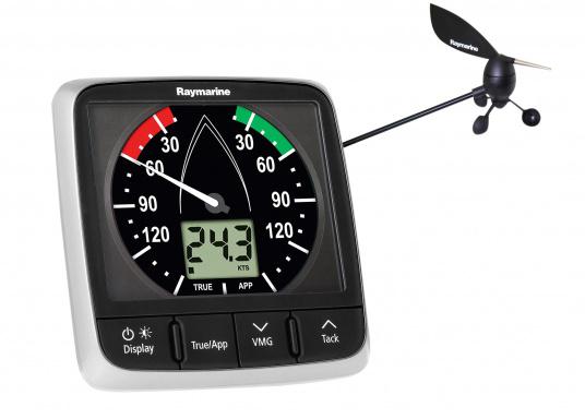 La Girouette-anémomètre Raymarine i60 Wind combine un affichage analogique et digital. Il calcule la vitesse et l'angle du vent réel et apparent, la vitesse du vent maximum. Livré avec un capteur de tête de mât et son câble.  (Image 1 de 7)