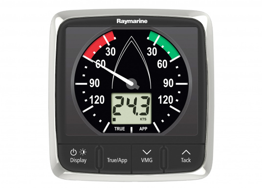 La Girouette-anémomètre Raymarine i60 Wind combine un affichage analogique et digital. Il calcule la vitesse et l'angle du vent réel et apparent, la vitesse du vent maximum. Livré avec un capteur de tête de mât et son câble.  (Image 2 de 7)