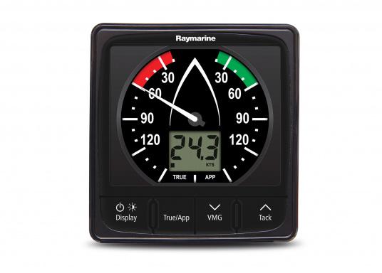 La Girouette-anémomètre Raymarine i60 Wind combine un affichage analogique et digital. Il calcule la vitesse et l'angle du vent réel et apparent, la vitesse du vent maximum. Livré avec un capteur de tête de mât et son câble.  (Image 3 de 7)