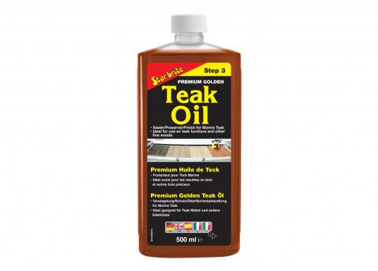 L'huile de teck Golden Premium donne une couleur intense et une protection longue durée à vos tecks. Elle est offre soin et protection et est compatible avec tous les autres produits de la gamme entretien de Star brite pour Teck.  (Image 1 de 1)