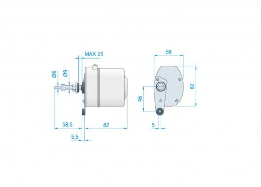 Kit d'essuie-glaces électriques. Comprend le moteur avec boîtier inox. Disponibles en 12 ou 24 volts.  (Image 6 de 6)