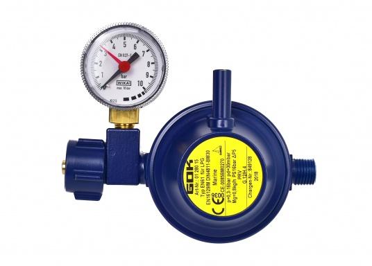 Le détendeur Marine est adapté pour le raccordement des bouteilles de gaz jusqu'à 14 kg. Débit: 0,8 kg / h. Livré avec manomètre.  (Image 1 de 3)