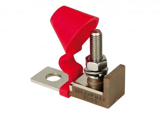 Ce porte- fusible est pensé pour utilisation sur la borne à l'aide d'un écrou isolé, pour économiser de l'espace.   (Image 1 de 3)