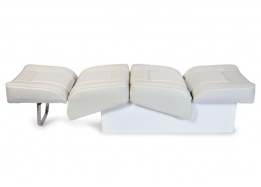 Banc dos à dos avec similicuir et cadre plastique. Deux places. La surface du banc peut être étendue jusqu'à 166 cm pour s'allonger. (Image 2 de 14)