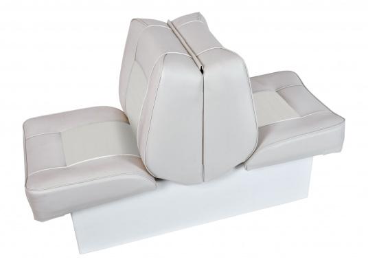 Banc dos à dos avec similicuir et cadre plastique. Deux places. La surface du banc peut être étendue jusqu'à 166 cm pour s'allonger. (Image 1 de 14)