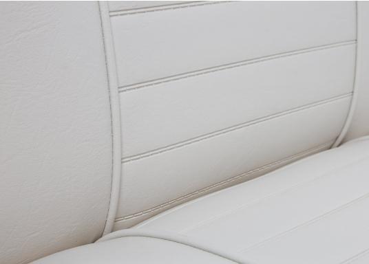 Banc dos à dos avec similicuir et cadre plastique. Deux places. La surface du banc peut être étendue jusqu'à 166 cm pour s'allonger. (Image 4 de 14)