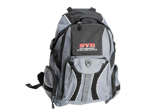 Sac à dos pratique et résistant, logo SVB. Il est consitué de deux compartiments, d'une petite poche de chaque côté et d'une autre à l'avant. (Image 1 de 3)