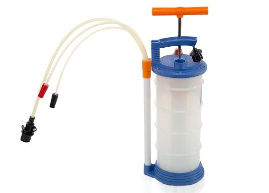 Pompe de vidange universelle, facile à utiliser, pour huiles, eau et autres liquides. Actionnez la pompe en élevant et en abaissant la poignée. En quelques instants, un vide se créé qui aspire le liquide dans le réceptacle de la pompe. Volume : 4,0 l. (Image 1 de 6)