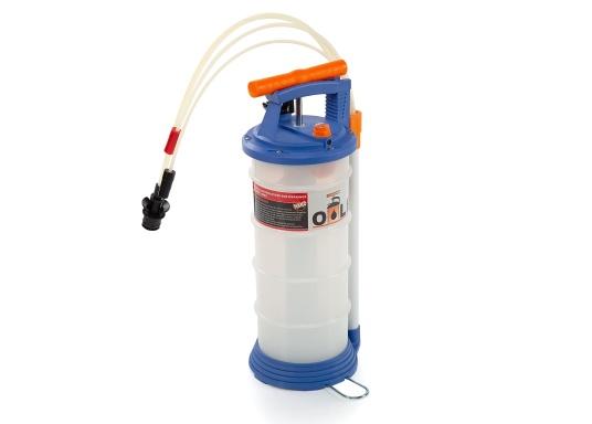 Pompe de vidange universelle, facile à utiliser, pour huiles, eau et autres liquides. Actionnez la pompe en élevant et en abaissant la poignée. En quelques instants, un vide se créé qui aspire le liquide dans le réceptacle de la pompe. Volume : 4,0 l. (Image 2 de 6)