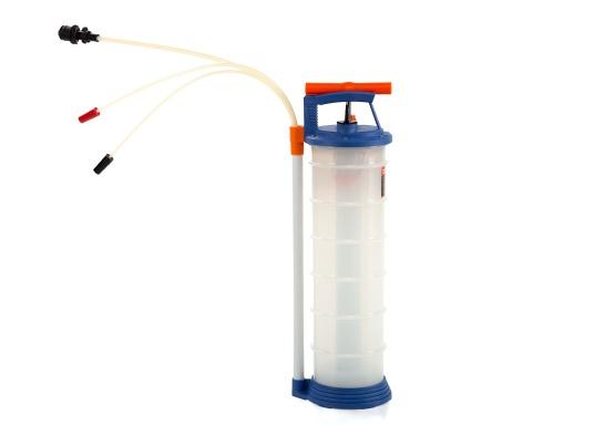 Pompe de vidange universelle, facile à utiliser, pour huiles, eau et autres liquides. Actionnez la pompe en élevant et en abaissant la poignée. En quelques instants, un vide se créé qui aspire le liquide dans le réceptacle de la pompe. Volume : 6,5 l. (Image 1 de 6)