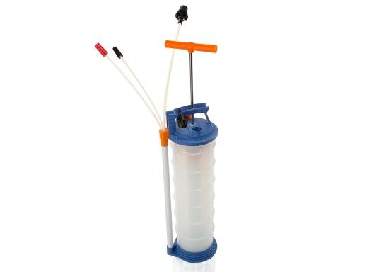 Pompe de vidange universelle, facile à utiliser, pour huiles, eau et autres liquides. Actionnez la pompe en élevant et en abaissant la poignée. En quelques instants, un vide se créé qui aspire le liquide dans le réceptacle de la pompe. Volume : 6,5 l. (Image 2 de 6)