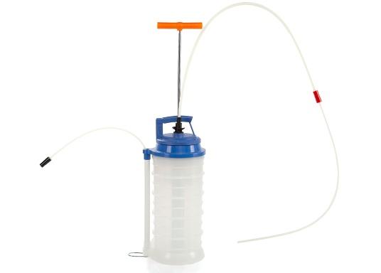 Pompe de vidange universelle, facile à utiliser, pour huiles, eau et autres liquides. Actionnez la pompe en élevant et en abaissant la poignée. En quelques instants, un vide se créé qui aspire le liquide dans le réceptacle de la pompe. Volume : 10,5 litres. (Image 2 de 5)