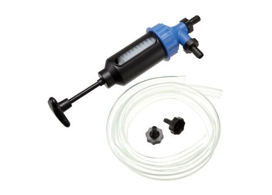 Pompe universelle pour l'huile, l'eau, le diesel, l'essence et autres liquides. Cette pompe de transfert manuelle est constituée d'un cylindre en plastique très résistant et de raccords filtrants.Volume : 200 ml. (Image 1 de 2)