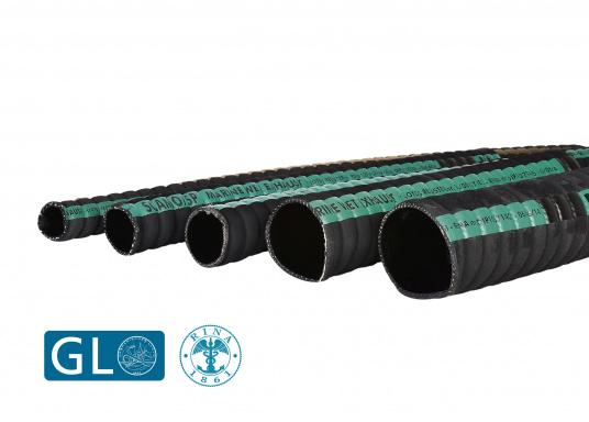Tuyaux d'échappement pour systèmes d'échappement refroidis par eau. L'emploi de tuyau caoutchouc permet de réduire considérablement la résonnance. Prix au mètre.  (Image 1 de 1)
