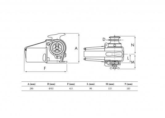 Guindeau électrique compact haute performance pour bateaux jusqu'à 14 m. Fabriqué en alliage d'aluminium marine avec un barbotin en bronze forgé. Commande manuelle de secours   (Image 2 de 2)